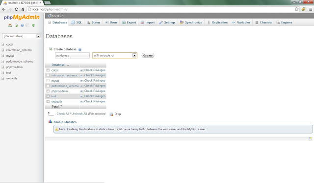 how to create database in xampp server