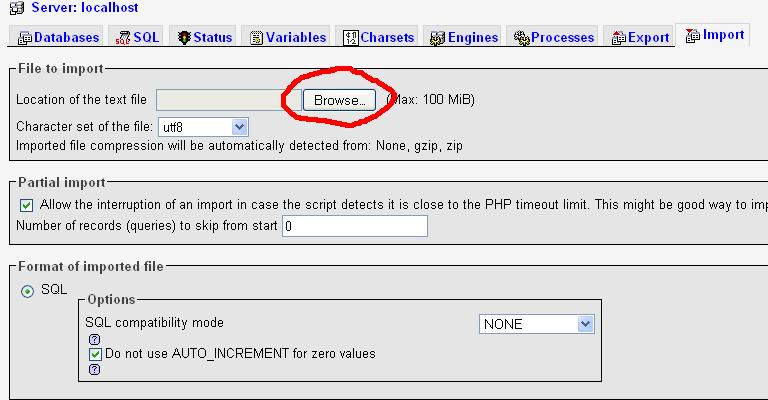phpmyadmin import database - hoangweb.com