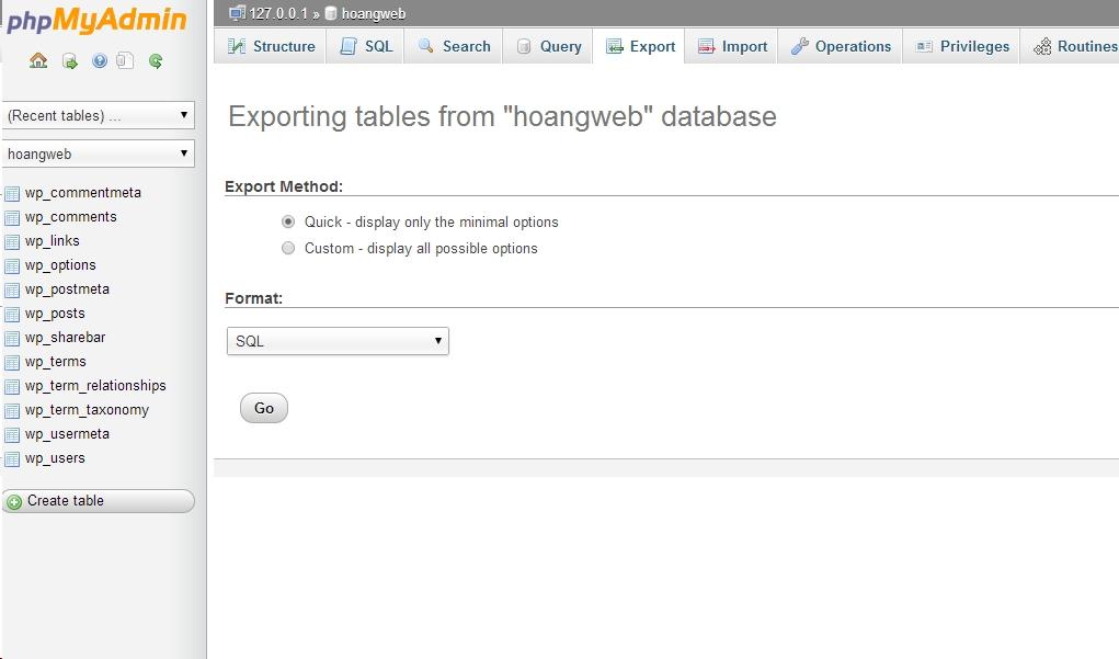 phpmyadmin export database - hoangweb.com