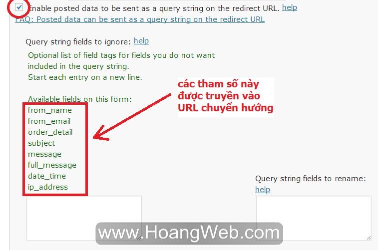 truyền tham số vào URL form liên hệ
