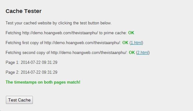 kiểm tra cache tester wp-super-cache