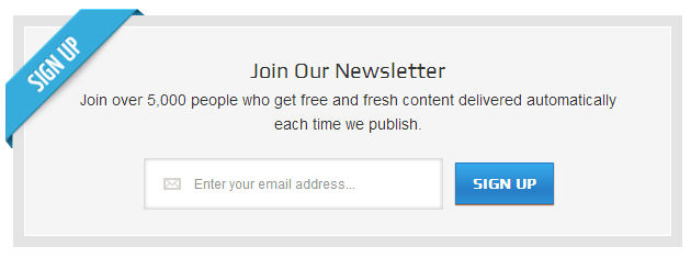 giao diện form newsletter signup box