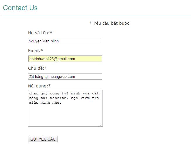 tạo form liên hệ mua hàng trong wordpress