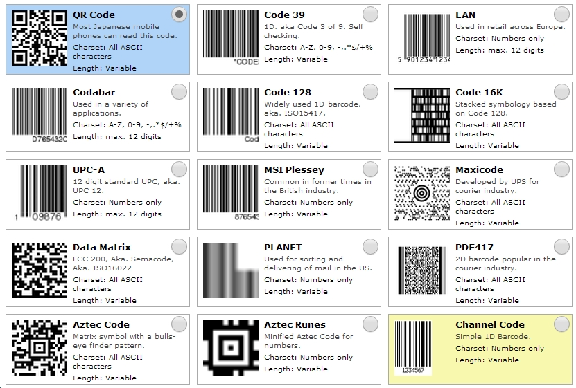 các kiểu dáng mã vạch barcode
