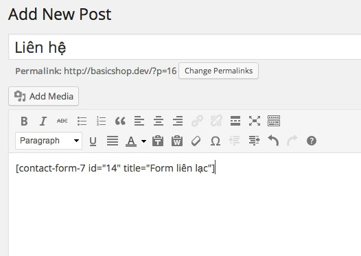 chèn form liên hệ trong wordpress