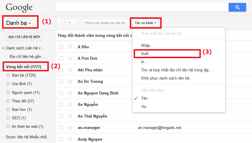 export gmail