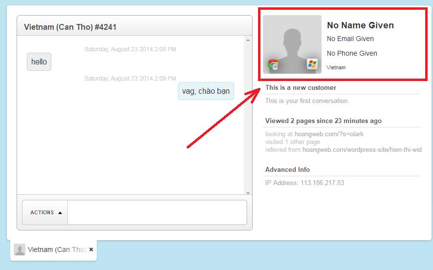 lưu thông tin người dùng olark chat