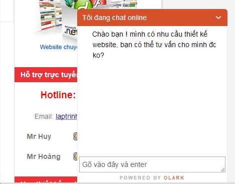 Tích hợp tính năng chat trực tuyến cho website