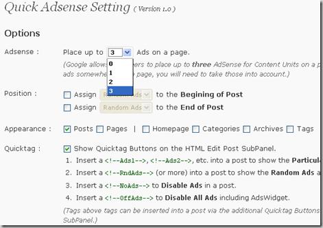 chèn quảng cáo vào bài viết - cài đặt quick adsense wordpress