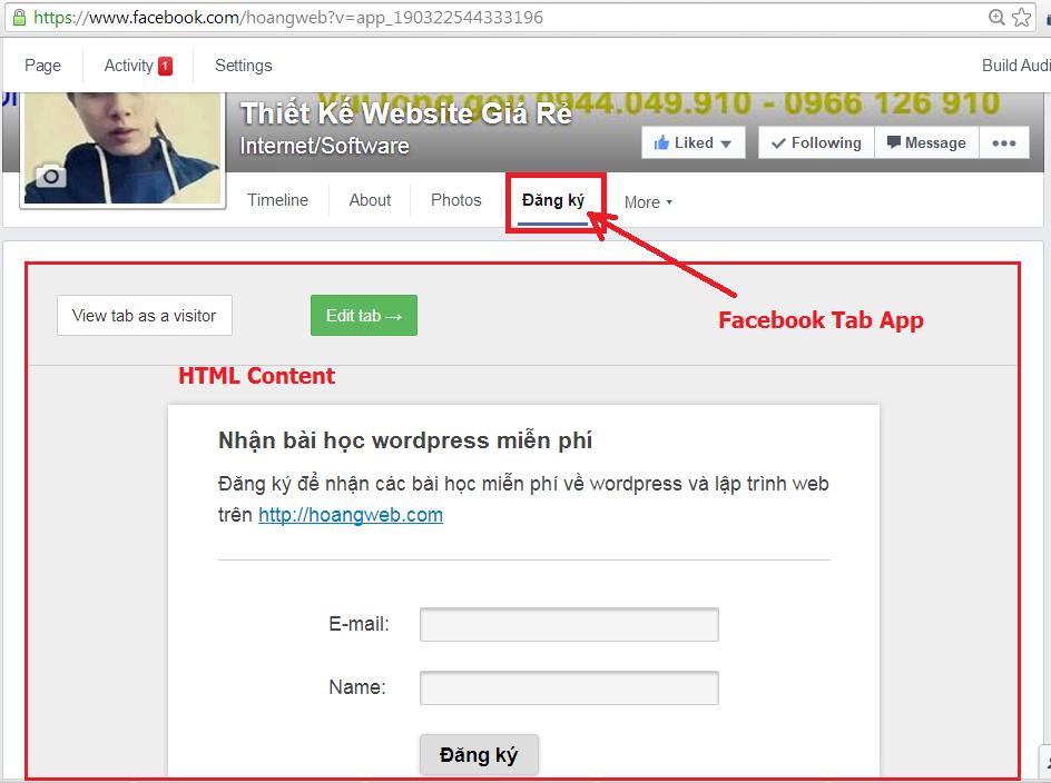 tạo static html iframe tab cho fanpage