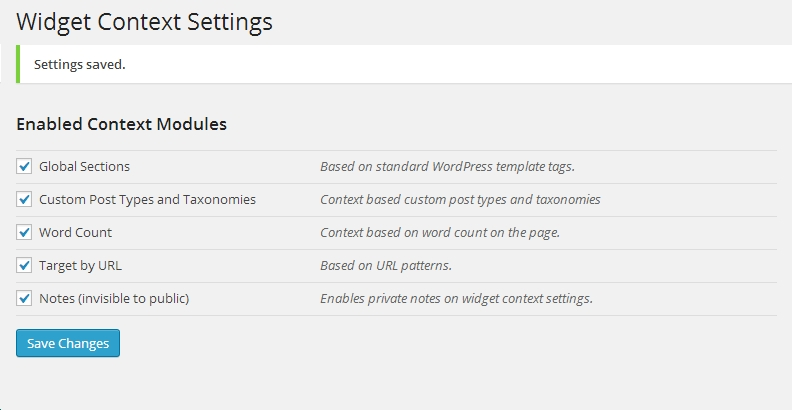 widget context settings