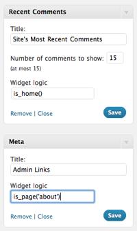 ẩn hiện widget trong sidebar với widget logic