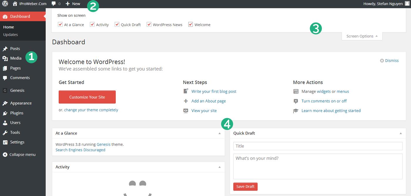 tìm hiểu về wordpress dashboard