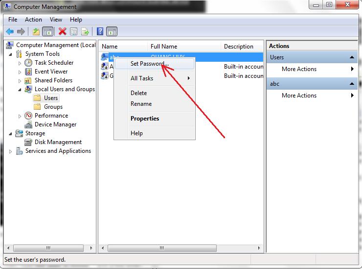 thiết lập mật khẩu người dùng windows