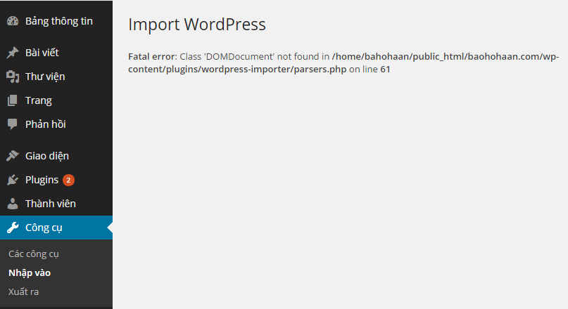 import-wordpress-not-found-domdocument