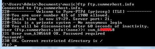 kết nối ftp command line