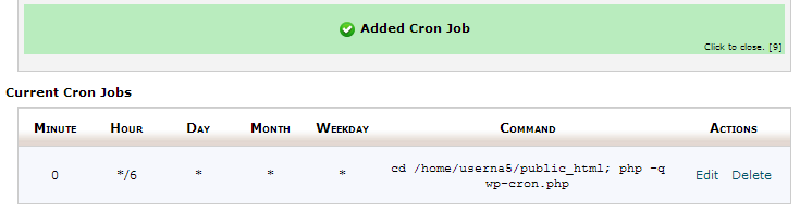 added-cron-job-successfully