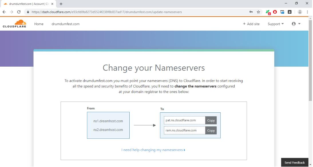 thay đổi name servers