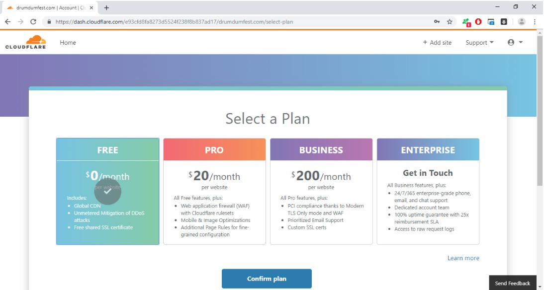 chọn gói cloudflare free plan