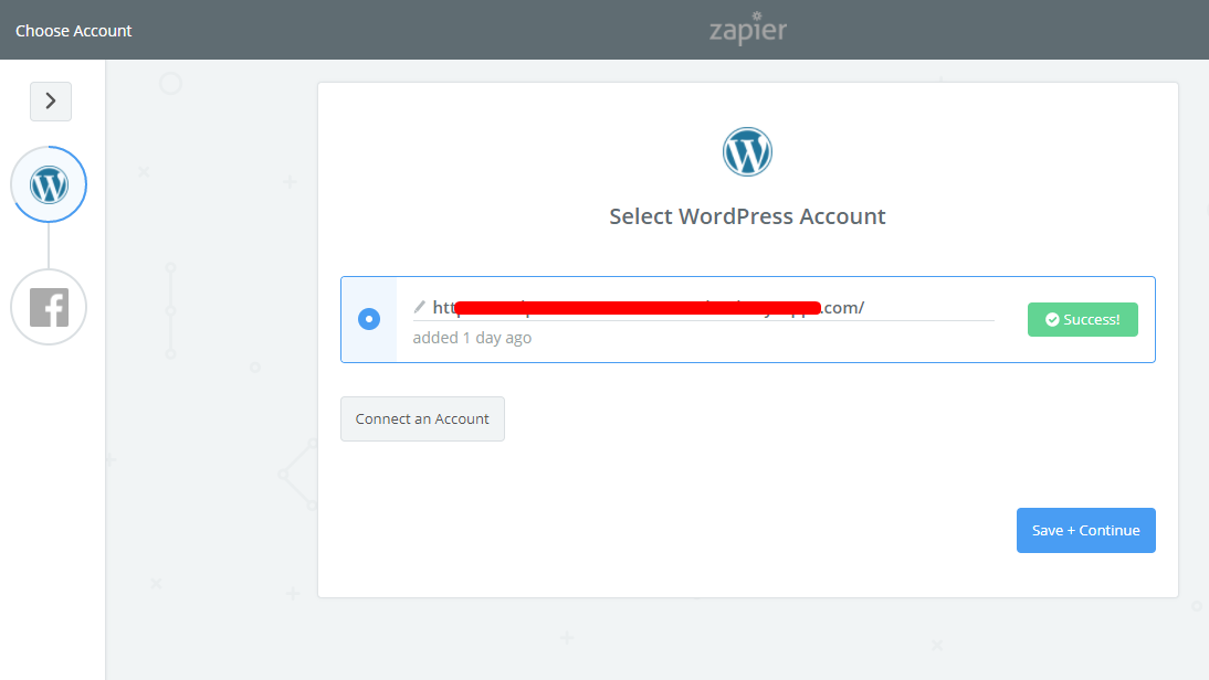 connect WordPress account with Zapier