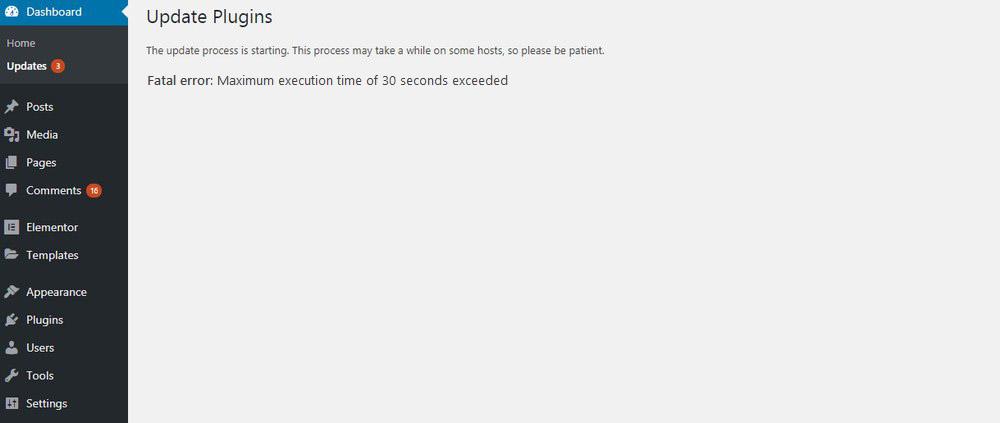 Fatal Error Maximum Execution Time Exceeded