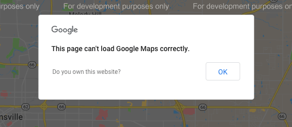 This page can't load google maps correctly