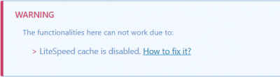 litespeed cache is disabled