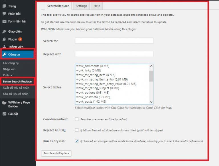 tìm thay thế text với plugin better search replace